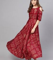 Wine Shantoon Printed Flared Ethnic Gown