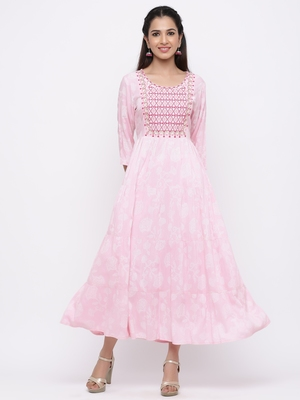 Baby Pink Rayon Embroidered Tiered Ethnic Dress