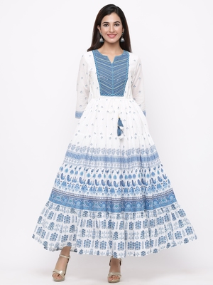 Blue Cambric Embroidered Tiered Dress