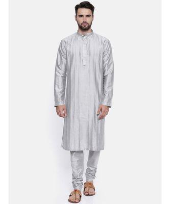 Mayank Modi Silver Grey Cotton Silk Kurta Set