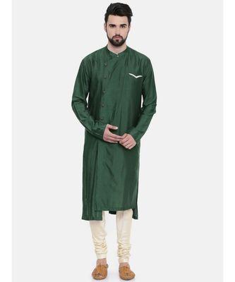 Mayank Modi Bottle Green Silk Blend Kurta Set