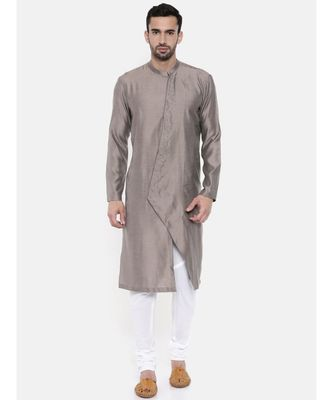 Mayank Modi Grey Linen / Satin Kurta set
