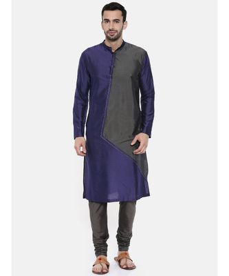 Mayank Modi Blue Grey Cotton Silk Kurta Set