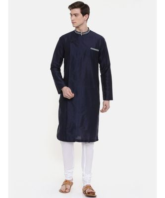 Mayank Modi Navy Blue Silk Blend Kurta Set