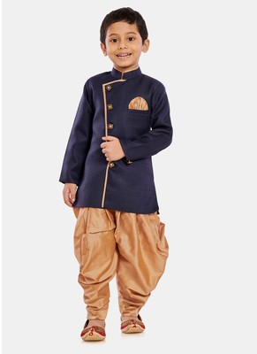 Blue plain blended cotton boys-sherwani