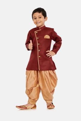 Maroon plain blended cotton boys-sherwani