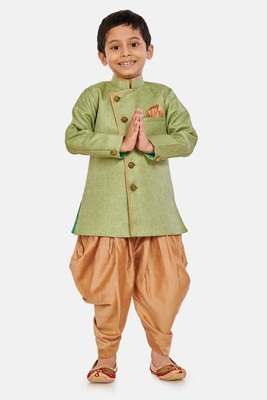 Green plain blended cotton boys-sherwani