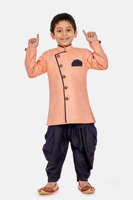 Pink plain blended cotton boys-sherwani