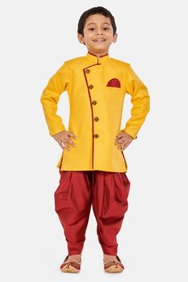 Yellow plain blended cotton boys-sherwani