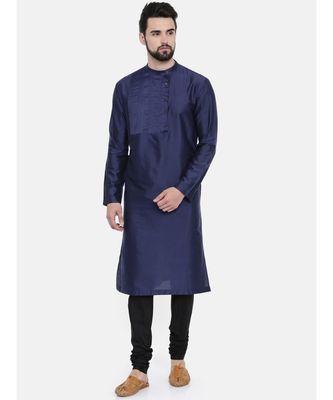 Mayank Modi Blue Cotton Silk Pintuck Kurta Set