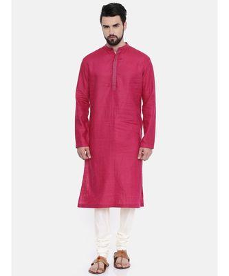 Mayank Modi Pink Linen Embroidered Kurta Set