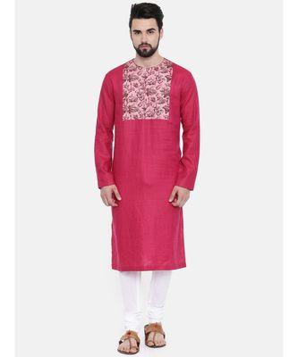 Mayank Modi Pink Printed Yoke Kurta Set