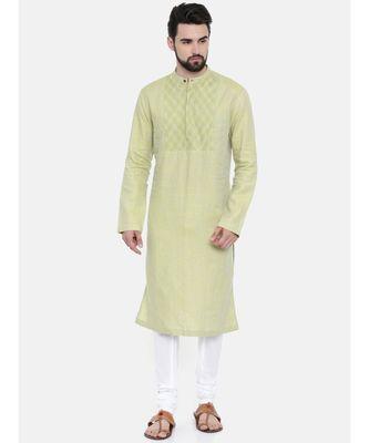 Mayank Modi Green Yellow Linen Kurta Set