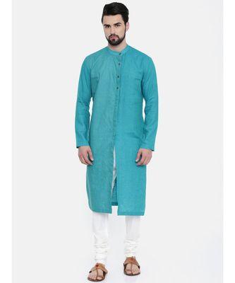 Mayank Modi Aqua Blue Linen Kurta Set