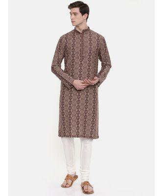 Mayank Modi Retro Printed Brown Kurta
