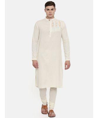 Mayank Modi Cream Cotton Embroidered Kurta