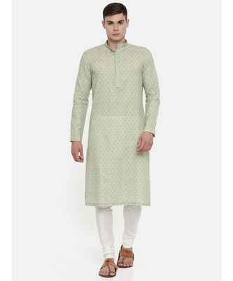 Mayank Modi Linen Green Printed Kurta