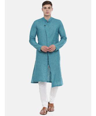 Mayank Modi Blue Chekered Linen Kurta