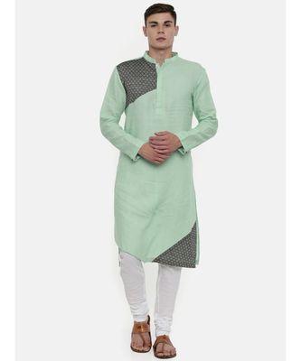Mayank Modi Pastel Green Linen Detail Kurta