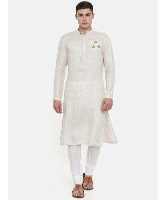 Mayank Modi Beige Linen Embroidered Kurta