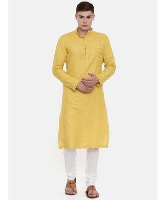 Mayank Modi Yellow Linen Embroidered Kurta
