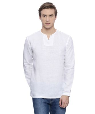 Mayank Modi White Linen Short Kurta