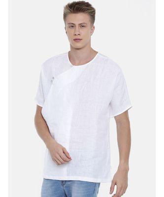 Mayank Modi Linen White Short Kurta