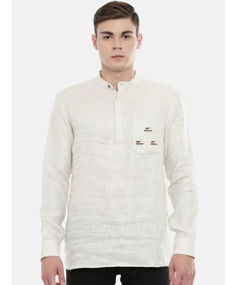 Mayank Modi Classic Beige Linen Embroidered Kurta