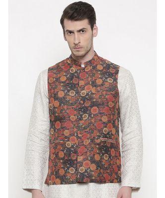 Mayank Modi Rust Orange Chanderi Jacket