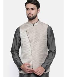 Mayank Modi Gold Silver Silk Jacket