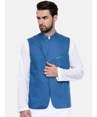 Mayank Modi Blue Linen Modi Jacket