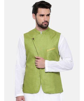 Mayank Modi Green Linen Modi Jacket