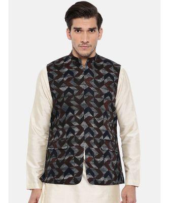 Mayank Modi Brown/Blue Linen Geometric Print Modi Jacket