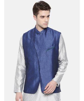 Mayank Modi Linen/Silk Blue Nehru Jacket