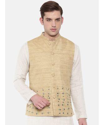 Mayank Modi Beige Matka Jute Embroidered Nehru Jacket