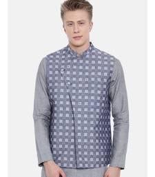 Mayank Modi Blue Cotton Checkered Embroidered Jacket