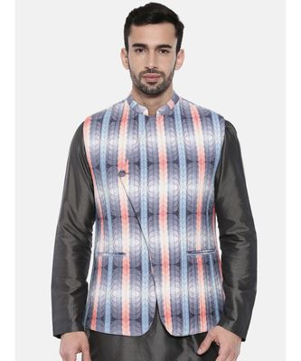 Mayank Modi Agua Blue Pink Quilted Jacket