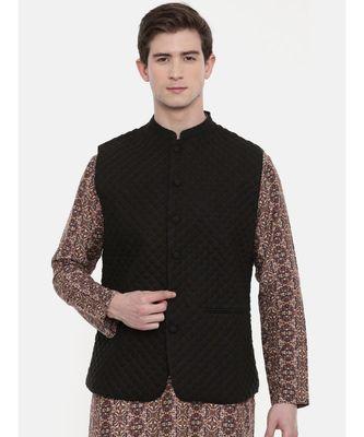 Mayank Modi Black Linen Quilted Jacket