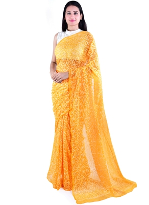 Lavangi Turmeric Yellow Hand Embroidered Lucknow Chikan Tepchi WorK Faux Georgette Saree with Blouse