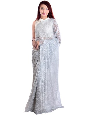 Lavangi Light Grey Hand Embroidered Lucknow Chikan Tepchi WorK Faux Georgette Saree with Blouse