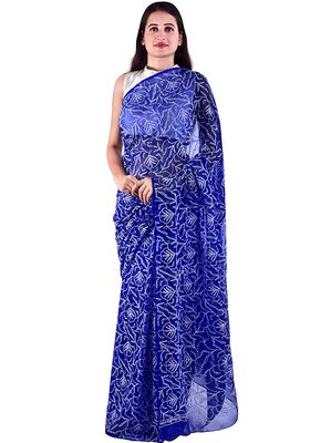 Lavangi Royal Blue Hand Embroidered Lucknow Chikan Tepchi WorK Faux Georgette Saree with Blouse