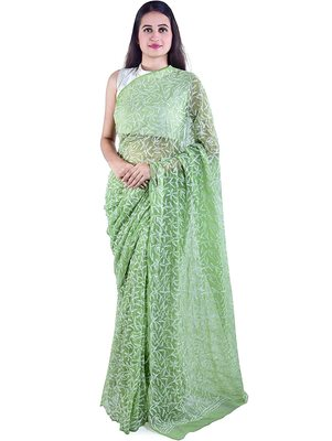Lavangi Mehendi Green Hand Embroidered Lucknow Chikan Tepchi WorK Faux Georgette Saree with Blouse