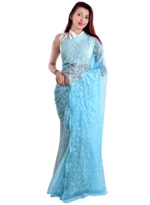 Lavangi Sky Blue Hand Embroidered Lucknow Chikan Tepchi WorK Faux Georgette Saree with Blouse