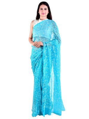 Lavangi Turquoise Hand Embroidered Lucknow Chikan Tepchi WorK Faux Georgette Saree with Blouse