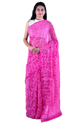 Lavangi Rani pink Hand Embroidered Lucknow Chikan Tepchi WorK Faux Georgette Saree with Blouse