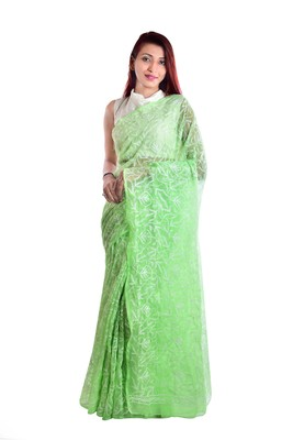 Lavangi Light green Hand Embroidered Lucknow Chikan Tepchi WorK Faux Georgette Saree with Blouse