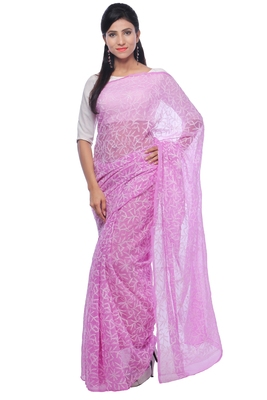Lavangi Onion Pink Hand Embroidered Lucknow Chikan Tepchi WorK Faux Georgette Saree with Blouse