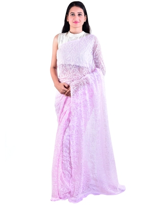 Lavangi Baby pink Hand Embroidered Lucknow Chikan Tepchi WorK Faux Georgette Saree with Blouse