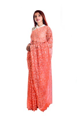 Lavangi Orange Hand Embroidered Lucknow Chikan Tepchi WorK Faux Georgette Saree with Blouse