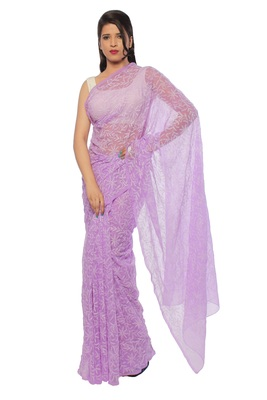 Lavangi Mauve Hand Embroidered Lucknow Chikan Tepchi WorK Faux Georgette Saree with Blouse